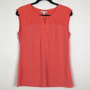 Calvin Klein Coral Orange Sleeveless Blouse